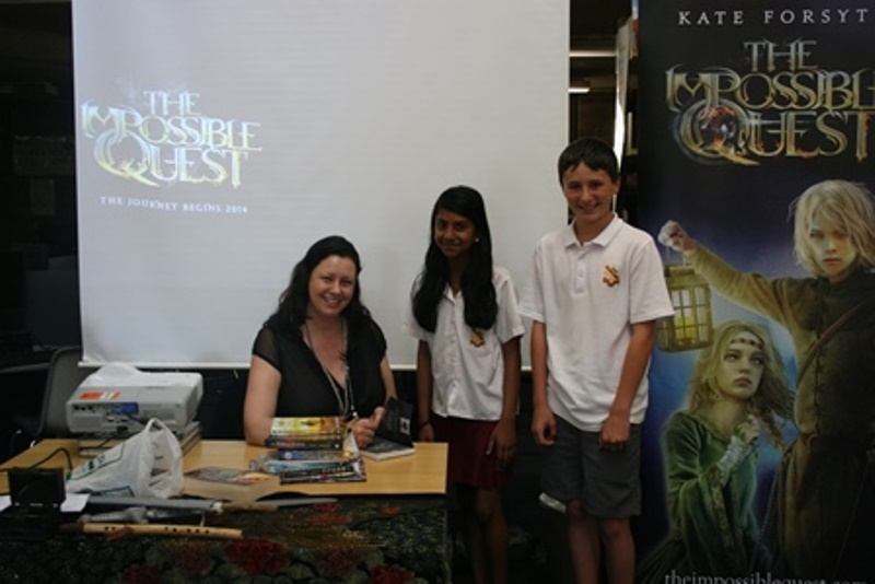 Kate Forsyth with students
